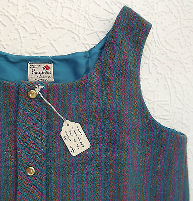 Girls pinafore dress Vintage 1960s Striped wool UNUSED Age 10 years LADYBIRD
